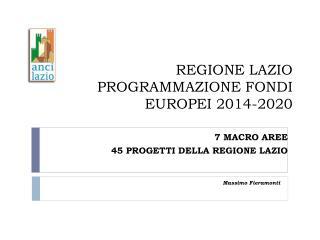 REGIONE LAZIO PROGRAMMAZIONE FONDI EUROPEI 2014-2020