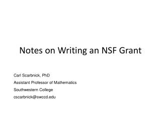 Notes on Writing an NSF Grant