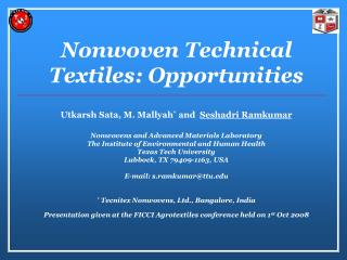 Nonwoven Technical Textiles: Opportunities