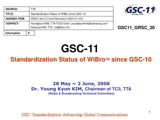 GSC-11 Standardization Status of WiBro TM  since GSC-10