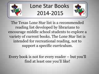 Lone Star Books  2014-2015