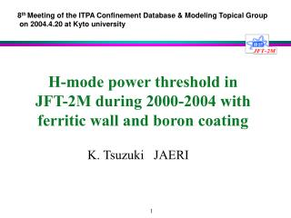 H-mode power threshold in  JFT-2M during 2000-2004 with ferritic wall and boron coating