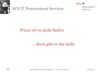 SCS IT Procurement Services