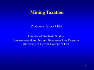Mining Taxation