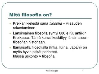 Mitä filosofia on?