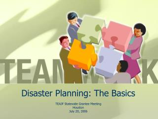 Disaster Planning: The Basics
