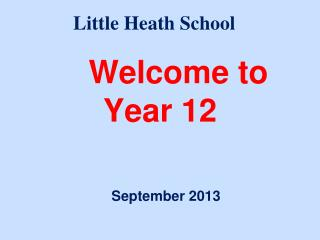 Welcome to  Year 12