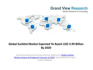 Global Sorbitol Market Forecasts 2014 to 2020