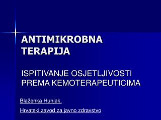 ANTIMIKROBNA  TERAPIJA