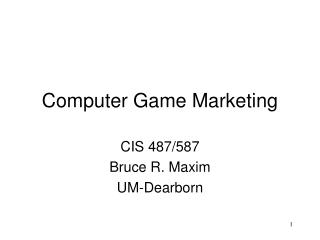 Computer Game Marketing