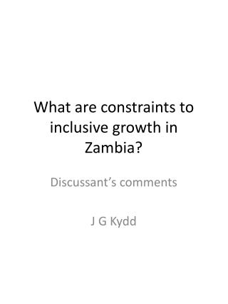 What are constraints to inclusive growth in Zambia?