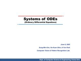 Systems of ODEs (Ordinary Differential Equations)