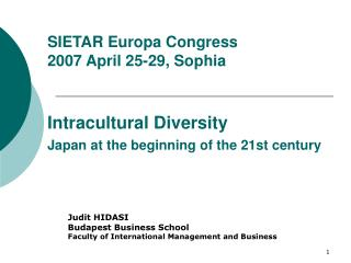 Judit HIDASI Budapest Business School Faculty of International Management and Business