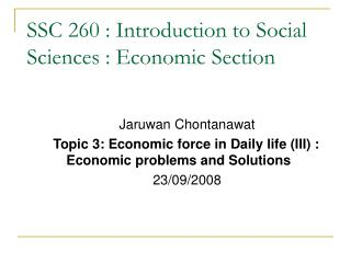 SSC 260 : Introduction to Social Sciences : Economic Section