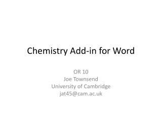 Chemistry Add-in for Word