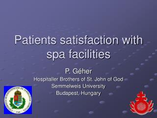Patients satisfaction with spa facilities