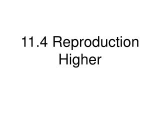 11.4 Reproduction Higher
