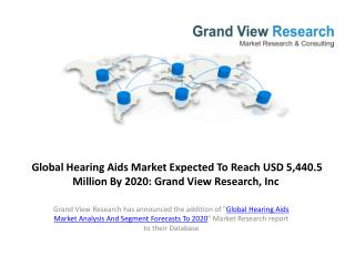 Hearing Aids Market Analysis and Forecast to 2020