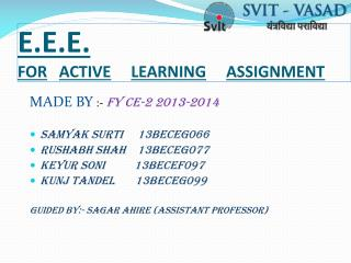 E.E.E. FOR ACTIVE LEARNING ASSIGNMENT