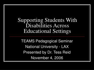 Supporting Students With Disabilities Across Educational Settings