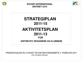 STRATEGIPLAN 2011-15 AKTIVITETSPLAN  2011-13 FOR