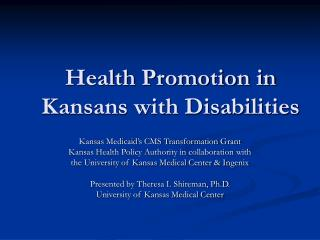 Health Promotion in Kansans with Disabilities