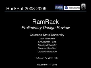 RamRack Preliminary Design Review