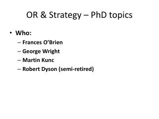 OR & Strategy – PhD topics