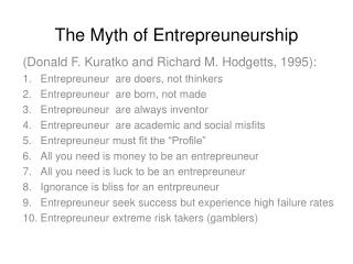 The Myth of Entrepreuneurship
