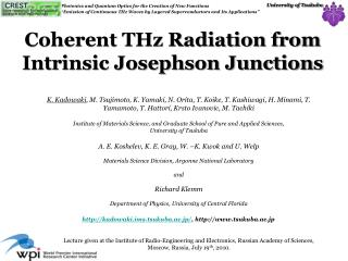 Coherent THz Radiation from Intrinsic Josephson Junctions