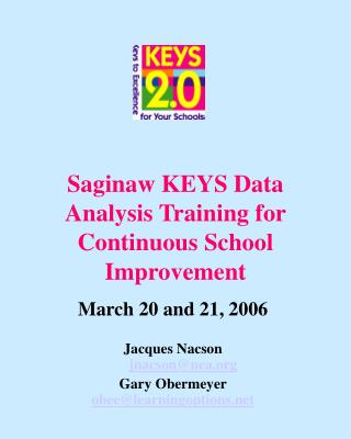 Saginaw KEYS Data Analysis Training for Continuous School Improvement