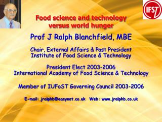 Food science and technology  versus world hunger