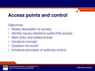 Access points and control