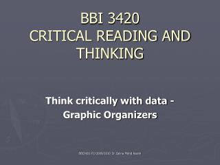 BBI 3420 CRITICAL READING AND THINKING