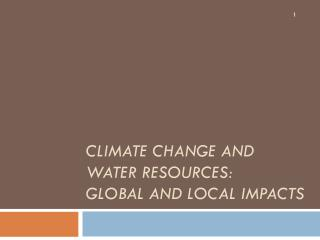 Climate Change and Water Resources:  Global and Local Impacts