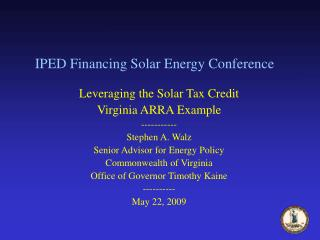 IPED Financing Solar Energy Conference