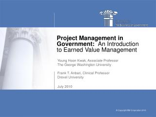 Project Management in Government:   An Introduction to Earned Value Management