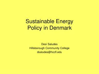 Sustainable Energy Policy in Denmark