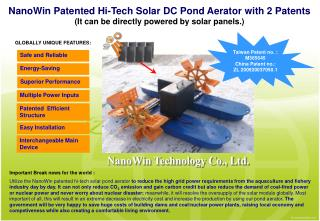 NanoWin Patented Hi-Tech Solar DC Pond Aerator with 2 Patents