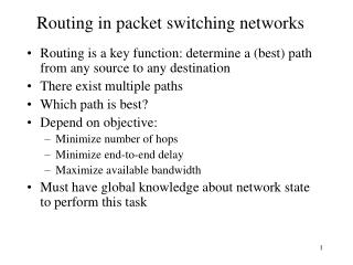Routing in packet switching networks
