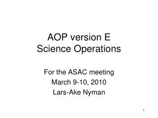 AOP version E  Science Operations