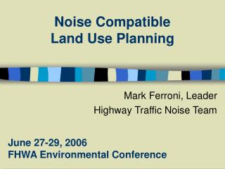 Noise Compatible  Land Use Planning
