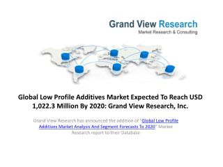 Low Profile Additives Market Analysis & Forecast to 2020