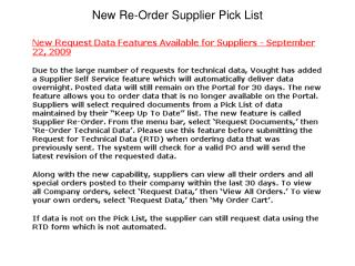 New Re-Order Supplier Pick List
