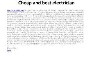 Cheap and best electrician