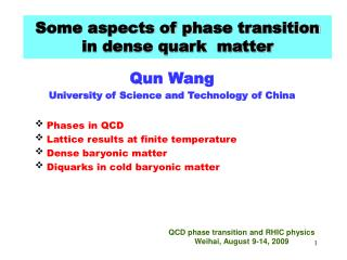 Some aspects of p hase transition  in dense quark  matter