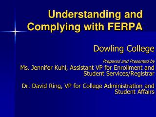 Understanding and Complying with FERPA