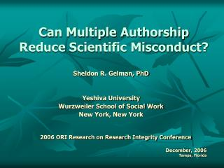 Can Multiple Authorship Reduce Scientific Misconduct?