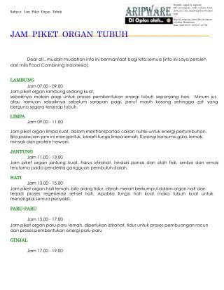 Subject: Jam Piket Organ Tubuh