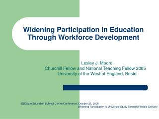 Widening Participation in Education Through Workforce Development